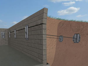 A graphic illustration of a foundation wall system installed in Exeter