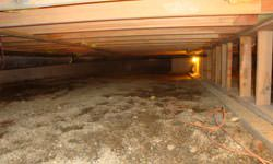 A nasty, mouldy crawl space in St Thomas, Ontario