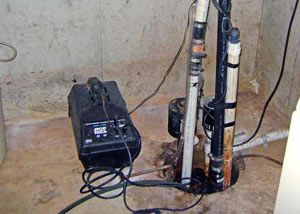 Pedestal sump pump system installed in a home in Listowel