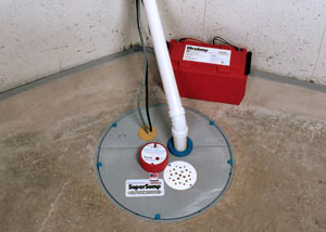 A sump pump system with a battery backup system installed in Exeter