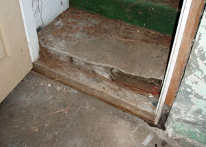 A flooded basement in St Marys where water entered through the hatchway door