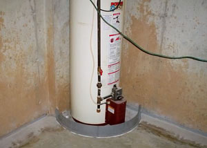 A water heater in Wallaceburg that's been protected by the FloodRing® and a perimeter drain system.