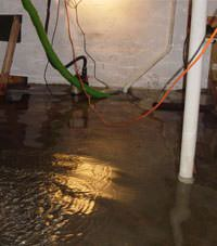 Several feet of floodwaters in a Crediton basement