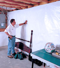 Plastic 20-mil vapor barrier for dirt basements, Strathroy, Ontario installation